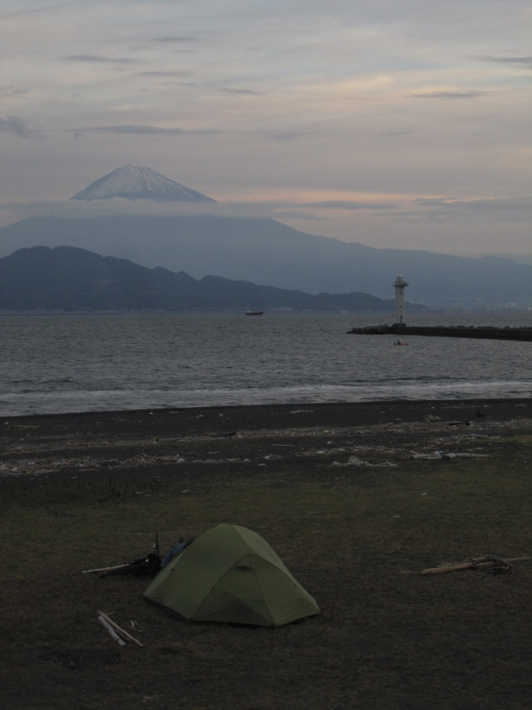 Free camping with an intimidationg Fuji. Miho Beach, Shizuoka, Japan...